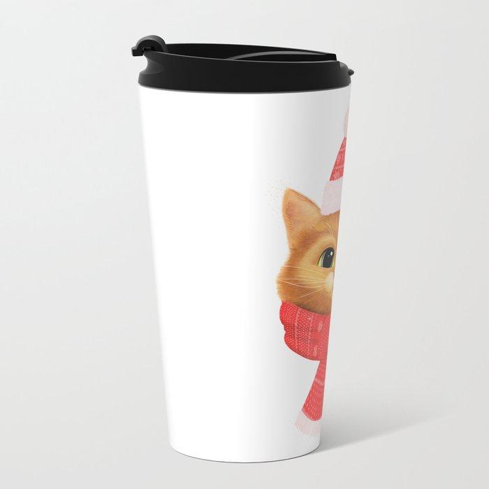 Winter kitty Metal Travel Mug