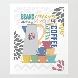 KITCHEN COFFEE LOVERS ART PRINT WITH FLOWER BURSTS - ABSTRACT PRINT Art Print