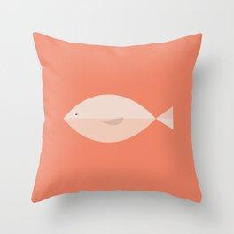 Sleepy Fish in Coral Blush Pink Throw Pillow