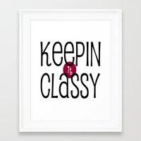 classy Framed Art Prints featuring Classy by Bunhugger Design