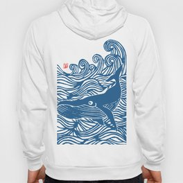 Japan Sea Whale Art Lino Hoody
