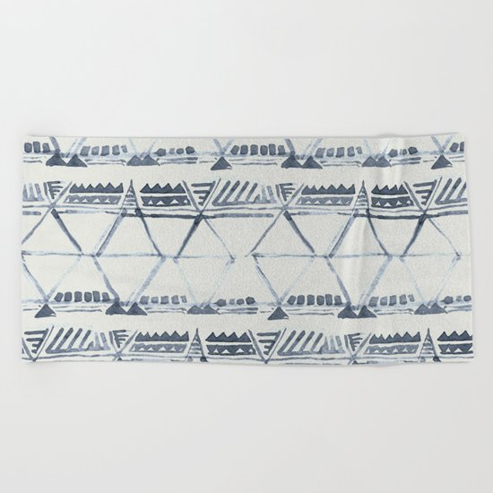 Simply Tribal Shibori in Indigo Blue on Lunar Gray Beach Towel