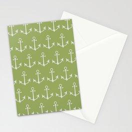 Nautical Anchors (Boat Anchors) - Green Gray Stationery Cards