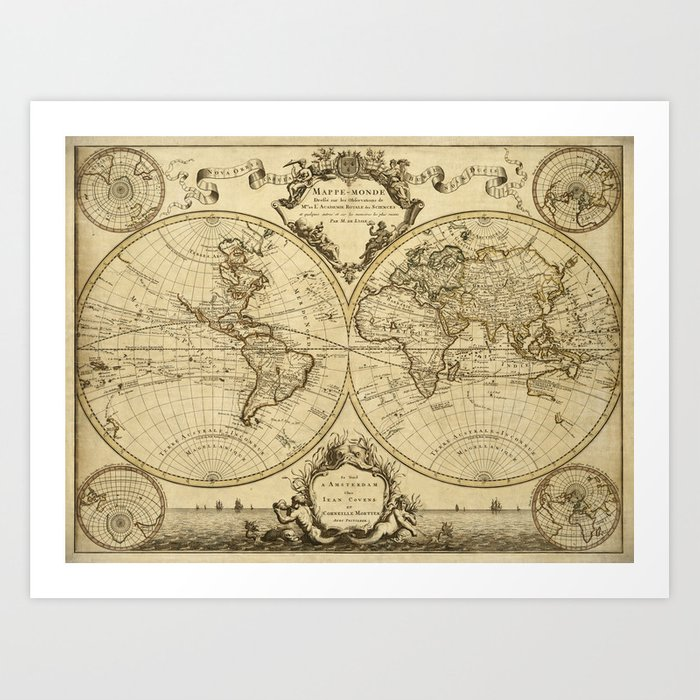 1720 Old World Map Historic Map Antique Style World Map Guillaume De