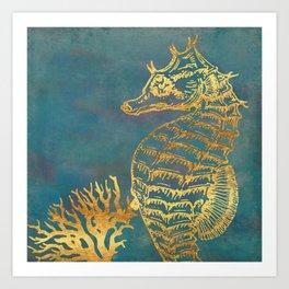 Deep Sea Life Seahorse Art Print