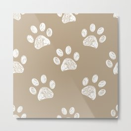 Light brown colored paw print pattern background Metal Print