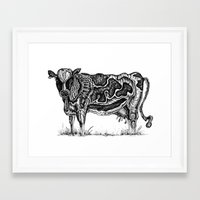 cow Framed Art Prints featuring Cow by Rebexi