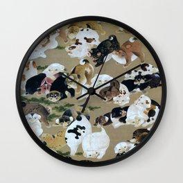 Ito Jakuchu - Hundred Dogs - Digital Remastered Edition Wall Clock