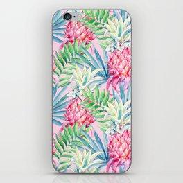 Pineapple & watercolor leaves iPhone Skin