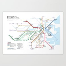 Boston Rapid Transit Map - With Bus Routes Art Print