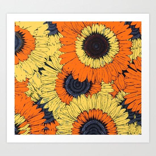 Abstracted Orange Yellow Deco Sunflowers Art Print