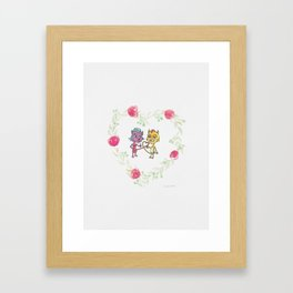 Cool Cats in Wreath-Pink Flowers and Watercolor Paper Texture Framed Art Print