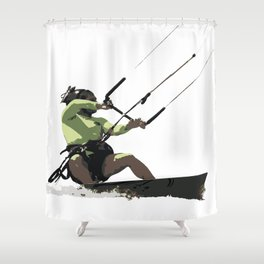 Going With The Wind Kiteboarding Vector Shower Curtain