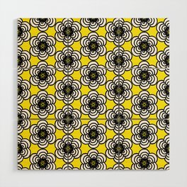 Yellow and Black Flowers Wood Wall Art