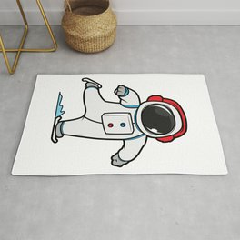 Funny astronaut at ice skating Rug