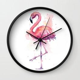 Pink Flamingo Watercolor Tropical Bird Wall Clock