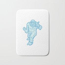 Yeti or Abominable Snowman Mono Line Bath Mat