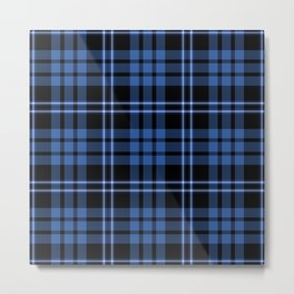 Blue & White Scottish Tartan Plaid Pattern Metal Print