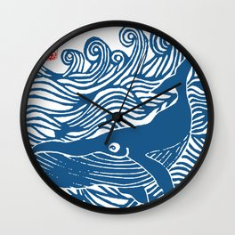 Japan Sea Whale Art Lino Wall Clock
