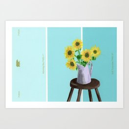 Sunflowers on Blues Art Print