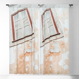 Old weathered window and wall Blackout Curtain