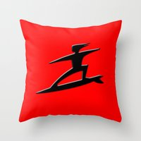 surfer Throw Pillows featuring Surfer by gbcimages