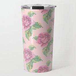 Cross Stitch Rose Pattern in pink Travel Mug