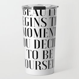 Girls Quote Beauty Begins Fashion Wall Art FASHIONISTA Poster Home Decor Quote Travel Mug