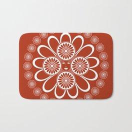 Red Art Nouveau Design Bath Mat