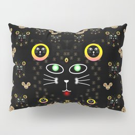 Merry black cat in the night and a mouse involved pop-art Pillow Sham