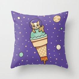 Kawaii Corgi Dog on an Ice Cream Rocket in Space Throw Pillow