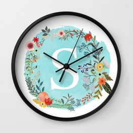 Personalized Monogram Initial Letter S Blue Watercolor Flower Wreath Artwork Wall Clock