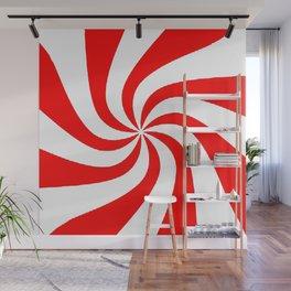 CONTEMPORARY MODERN ART RED-WHITE PIN WHEEL Wall Mural