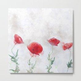 Poppy watercolor Metal Print