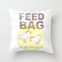 "FEED BAG ""Cluck Cluck"" Color Kitchen Print Throw Pillow"