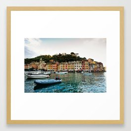 Portofino Boats Framed Art Print