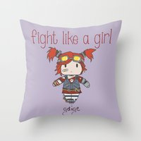 borderlands Throw Pillows featuring Fight Like a Girl - Borderlands 2 ~ Gaige by ~ isa ~