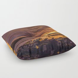 January sunset over Lyttelton harbour Floor Pillow