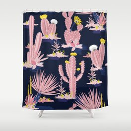 Kitschy Pink Cactus Cacti on Black Shower Curtain