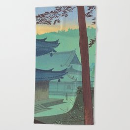 Asano Takeji Japanese Woodblock Print Vintage Mid Century Art Teal Turquoise Sunrise Shrine Beach Towel