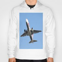 airplanes Hoodies featuring ABX Air Boeing 767-232(BDSF) Miami Take-off Florida Airplanes  by Yan David