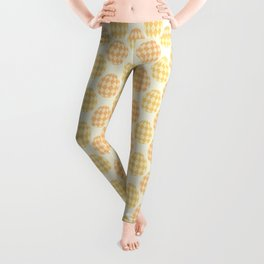 Hand-painted Checkered Easter Egg Pattern, Festive Eggs with Beautiful Acrylic / Oil Texture in Spring Pastel Golden Orange, Yellow, Cream, Beige and Ochre Color Leggings