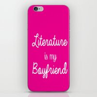 literature iPhone & iPod Skins featuring literature is my boyfriend pink by Beautiful Bibliophile's Boutique