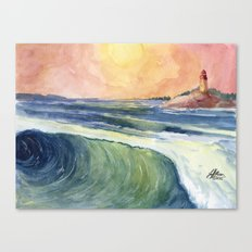 High Tide At Sunset Canvas Print