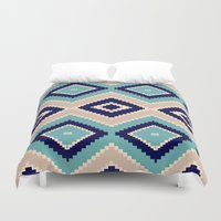 navajo Duvet Covers featuring navajo blue by spinL