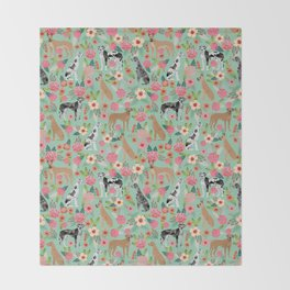 Great Dane floral dog breed pet friendly pet pattern great danes pure breed Throw Blanket