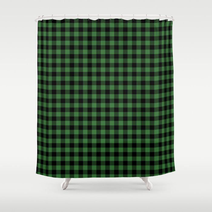 Classic Green Country Cottage Summer Buffalo Plaid Shower Curtain