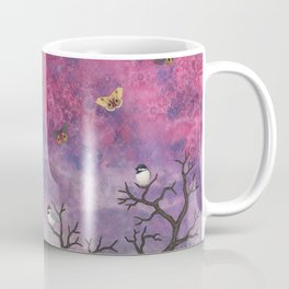 chickadees and io moths in the moonlit sky Coffee Mug