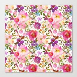 Pink violet lilac watercolor botanical floral Canvas Print