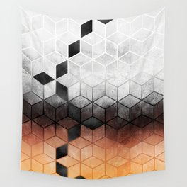 Ombre Concrete Cubes Wall Tapestry